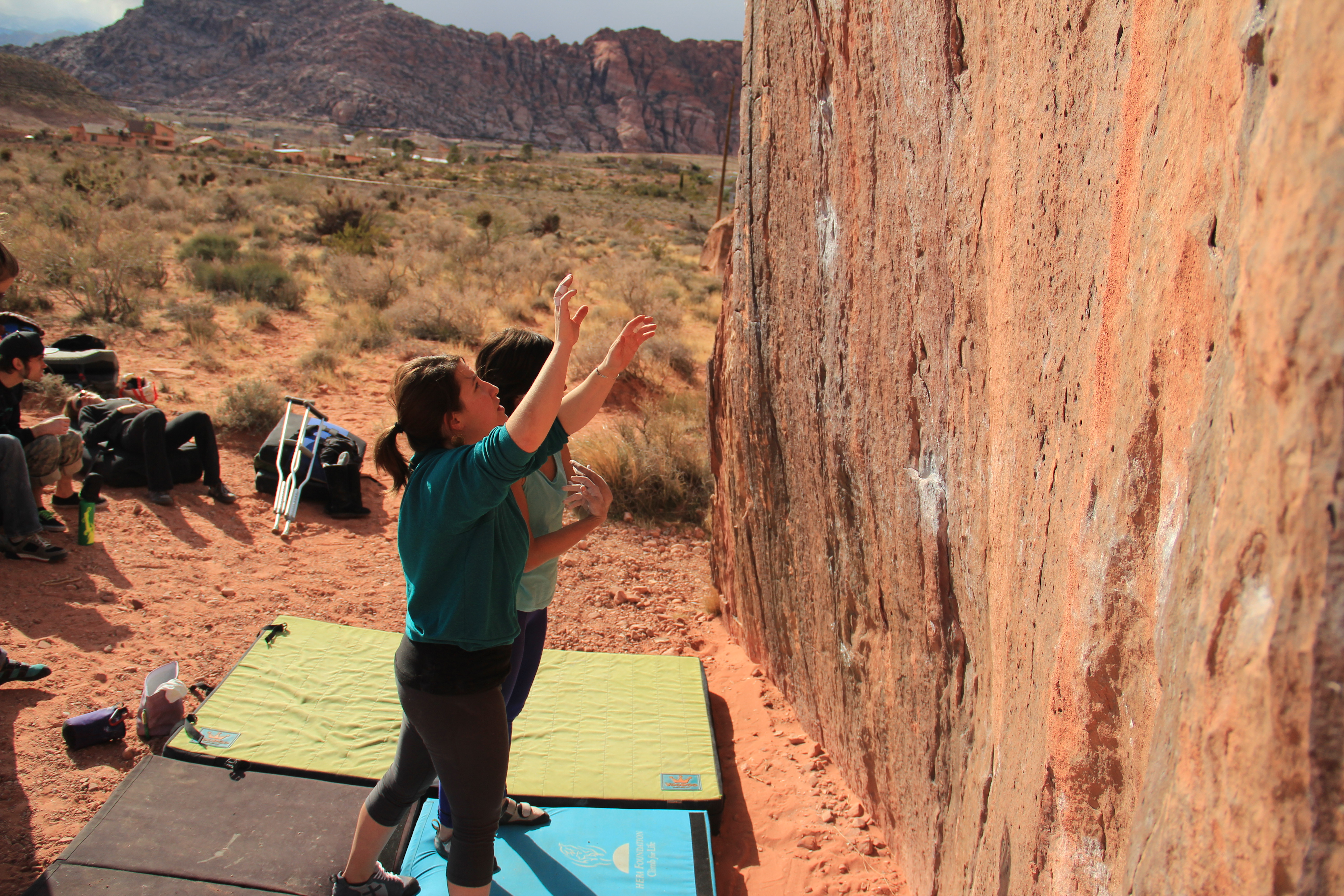 Alana and Vikki working out short (and extremely painful) beta for a Red Rocks classic, The Pearl