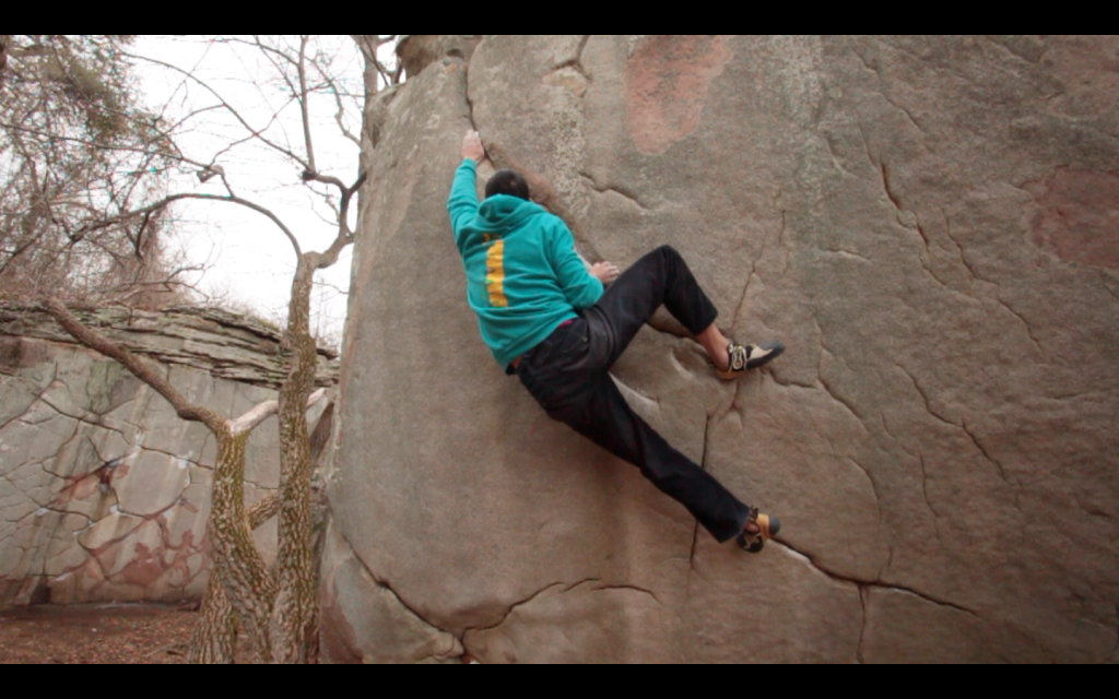A screencapture of one of the dozens of video clips of myself hitting the hold and falling.