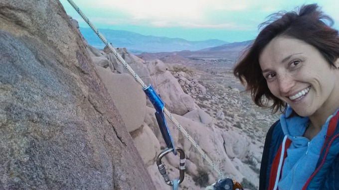 This is from a couple days ago in Bishop. Spenser taught me how to use an ascender. I was scared out of my mind, but took the time to go hands-free (+safety knot) and relax on the rope. I think I'm progressing! Hooray!