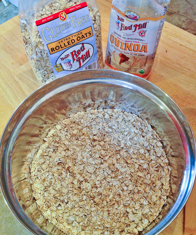 Bob's Red Mill Extra Thick Rolled Oats and Quinoa.