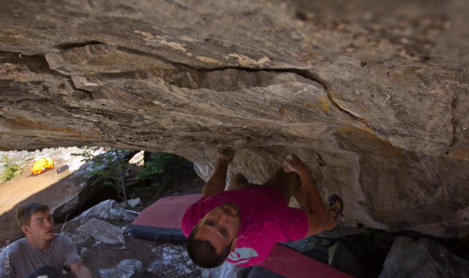 Spenser getting horizontal on the 2nd ascent of Dangleau.