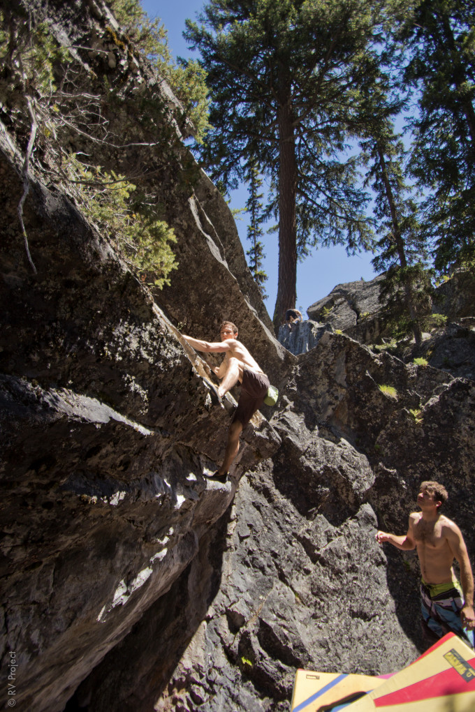 """Local climber Lowetz on the first ascent of Newer and Stupider. The named was coined after another climber stated that this was the moment to get on this particular climb since the group would find something """"newer and stupider"""" to climb next season."""