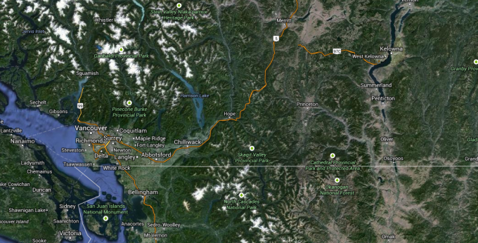 Kelowna is about 4.5 hours east of Vancouver.