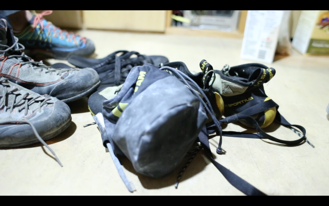 And shoes. We'll need two pairs of shoes plus a chalkbag.