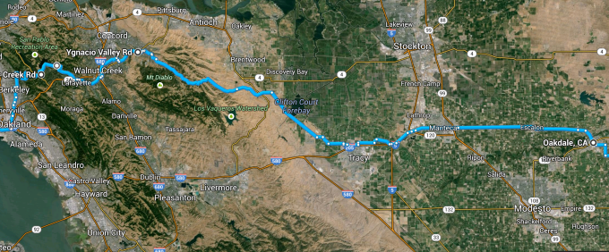 The East Bay section to Oakdale.