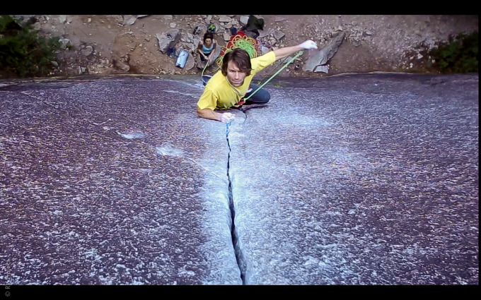 """Kevin assertively clipping into his first piece. All I could think was, """"he climbed all the way up there before putting in any gear."""""""
