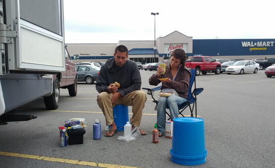 Us, being carefree while making sandwiches in front of Wal-Mart.