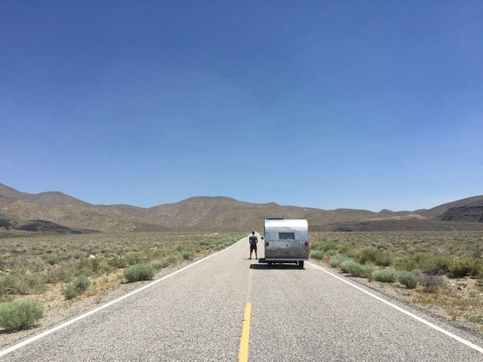 The hybrid RV Proj/Johnson mobile pauses in a remote corner of California.