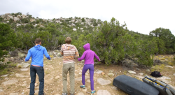 The crew is jiggly-psyched to go bouldering! Consciously!