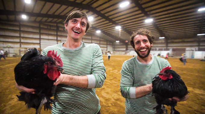 They even caught identical chickens during the chicken run...