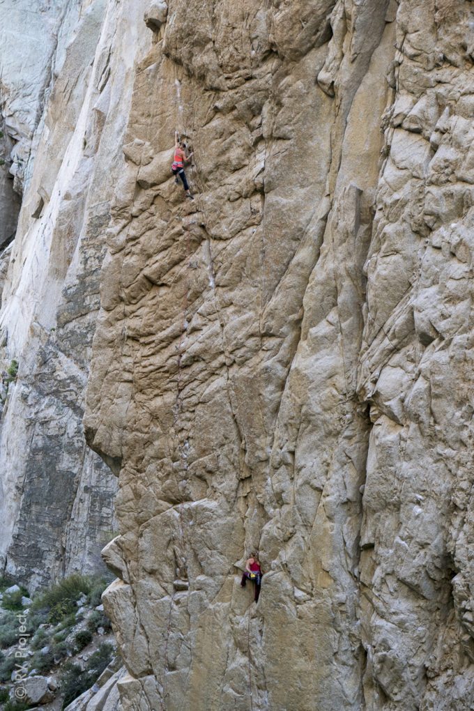 Kate (left) and Hazel race up a pair of hard routes in Pratt's Crack Gully, Pine Creek. Not sure how they had their draws racked.