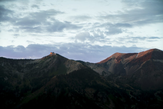 The sun's first rays hit the Snowbird tram and AF Twins. Taken from Superior a few weeks ago.