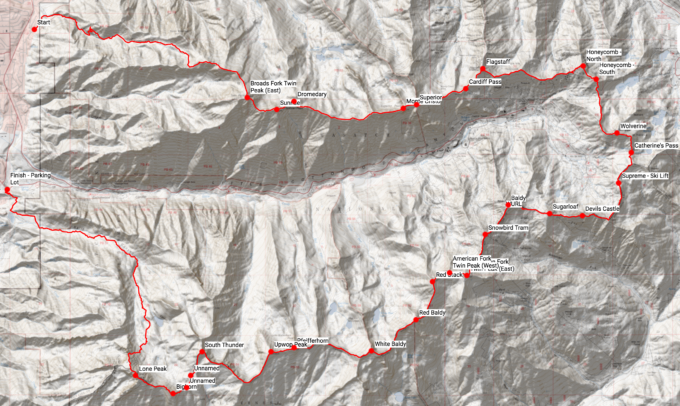 The WURL, basically. Click on the map for an interactive CalTopo version.