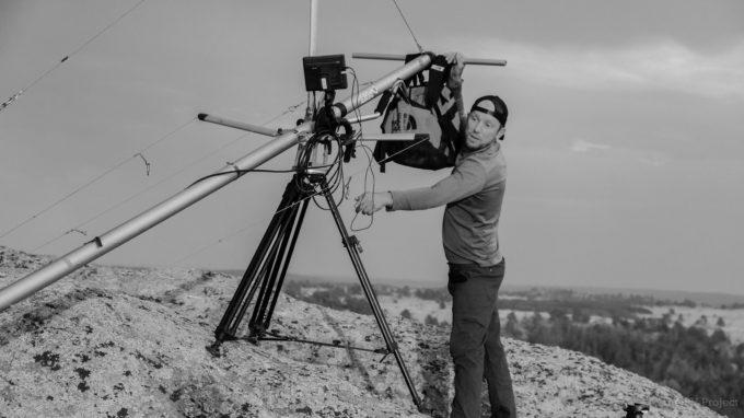 Pete Mortimer, co-founder of Sender Films, directing in Vedauwoo in 2012.