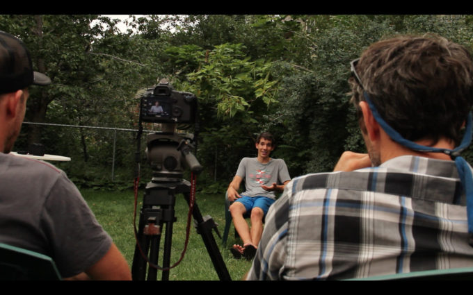 Nick (right) interviewing some guy for some film.